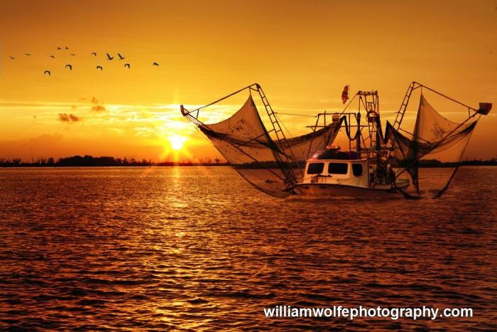 1) Shrimping at Sunrise, Jean Lafitte, LA by Bill Wolfe