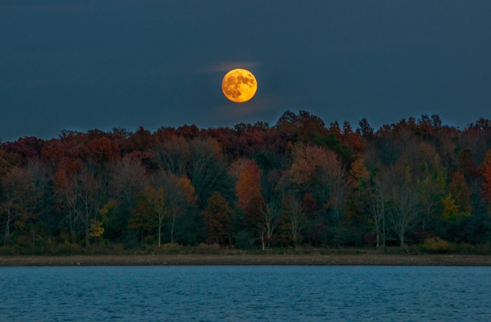 17. Fall moonrise over Hoover Reservoir in Westerville, OH