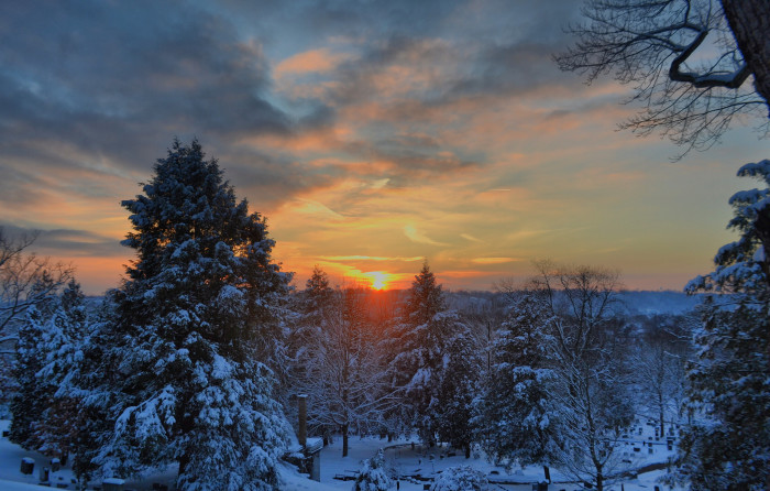 3. The setting sun at Oak Grove Cemetery in Marietta, OH