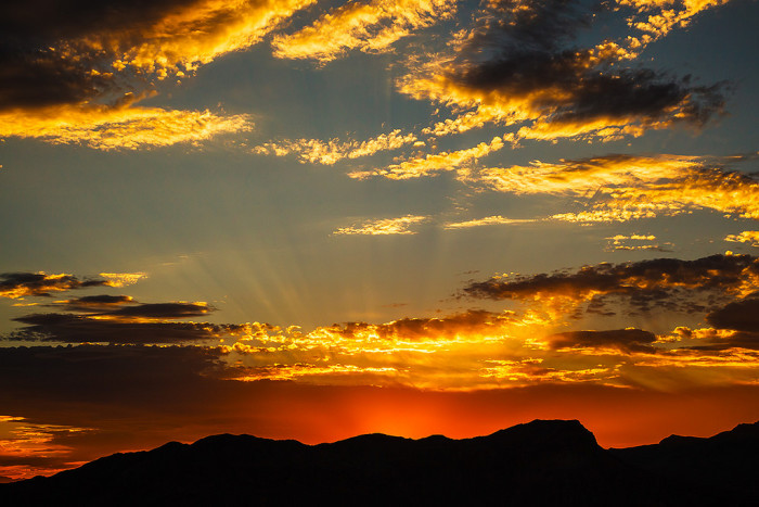 3. This magnificent sunset is overlooking the North Shore Summit Trail within the Lake Mead National Recreation Area.