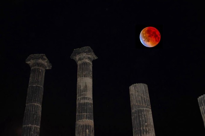 2. The supermoon eclipse is positively otherworldly over the columns in Pioneers Park in Lincoln.