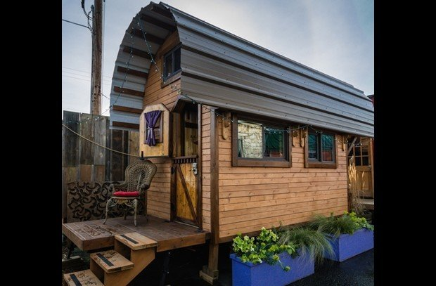 2, 3, & 4) At the Tiny House Hotel in Portland, you can stay the night in one of six adorable tiny houses. Here are three of the houses they offer.