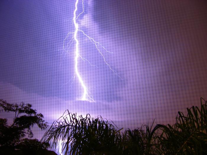 17. Lightning seen through a porch screen in Delray Beach