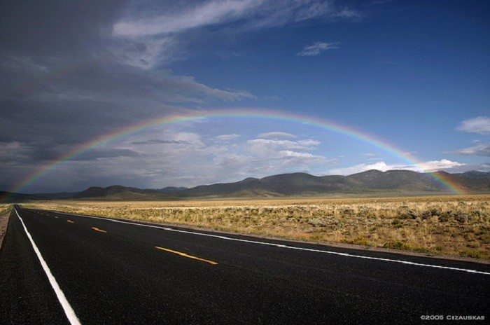 7. Imagine seeing a rainbow like this while traveling down U.S. Route 50. GORGEOUS!!!