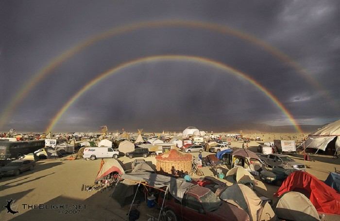 10. This double rainbow was captured at Burning Man and is PERFECT!!!