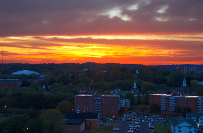 7. The sun setting over Ohio University in Athens, OH