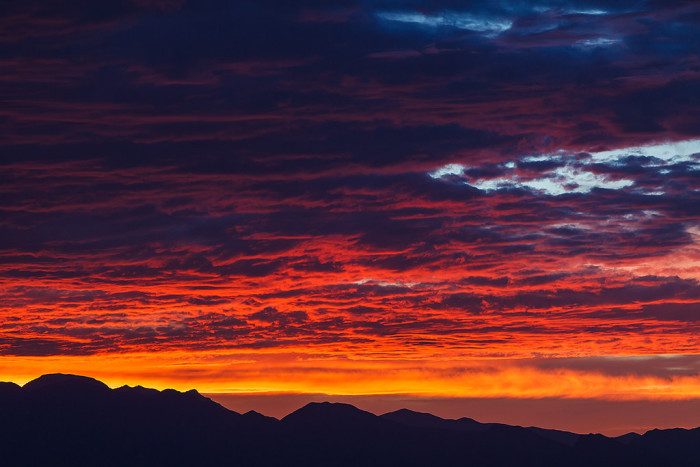 9. This colorful sunset is overlooking the Spring Mountains in Las Vegas.