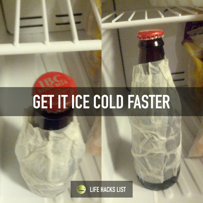 3. Doesn't it stink when you come home in the summer and realize you have no cold drinks? Wrap the bottles in wet paper towels and in 15 minutes your drinks will be ice cold.