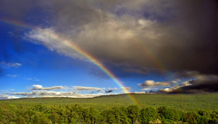 8. A double rainbow after the storm, over Kittatinny Mountain in Sussex County.