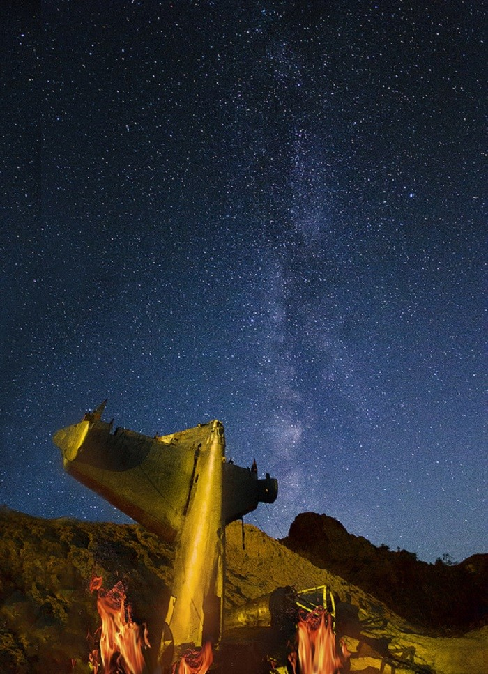 11. A marvelous starry sky overlooking a downed plane in Nelson, Nevada.