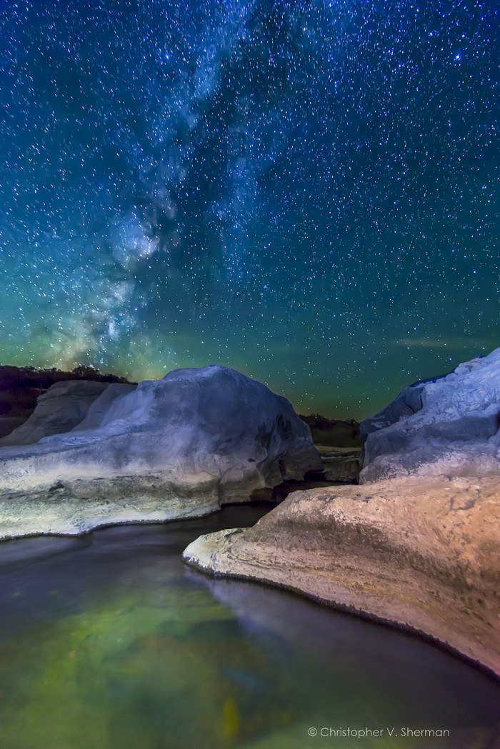 1) What follows are a few breathtaking shots of the Milky Way, with this first one captured over the Pedernales River. Just wow...