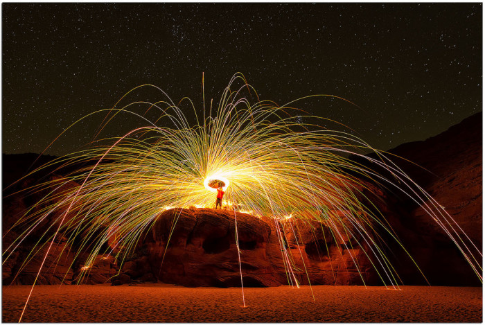 6. This one was taken at Antelope Canyon, with the tour guide/model spinning a piece of burning steel wool for the effect.