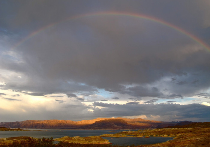 6. This rainbow over Lake Mead is quite lovely. Don't you agree?