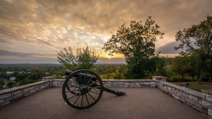 """16. This amazing photo is by Ken Trudeau, who says, """"Sunsets are enjoyable in Pacific Missouri on top of the sandstone bluff, in the Fall."""""""