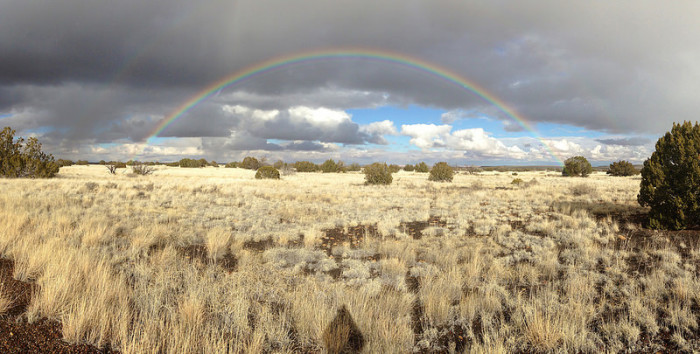 9. This is nice panoramic view of a double rainbow at the Wupatki National Monument.
