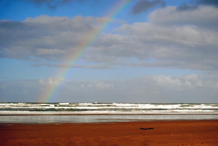 6) A rainbow over the ocean.