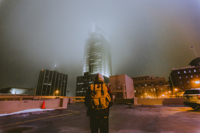 15. A perfect foggy winter night above the streets of downtown Omaha.