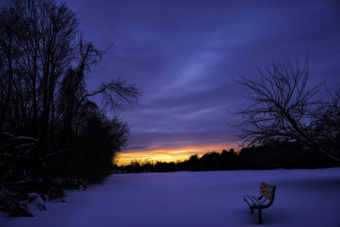 7. A serene sunset after the snowfall near Ewing.