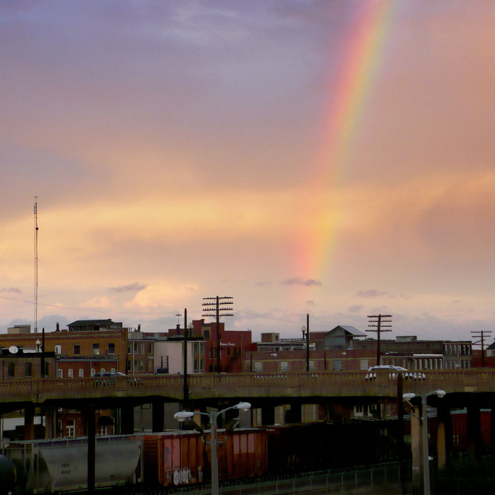 """4. This lovely rainbow is seen from the 21st Street """"Rainbow Viaduct"""" in Birmingham."""