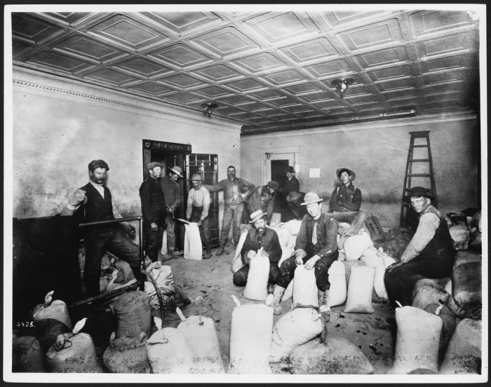 3. A group of miners sacking high-grade ore for deposit in Cook's County Bank in Goldfield, Nevada, circa 1905.