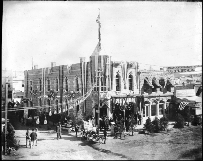 11. The grand opening of the Elks Montezuma Club in Goldfield, Nevada, circa 1900.