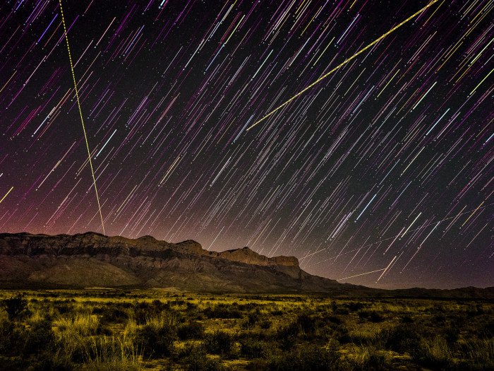 """14) """"Starlaunch"""" over the Guadalupe Mountains in Texas."""