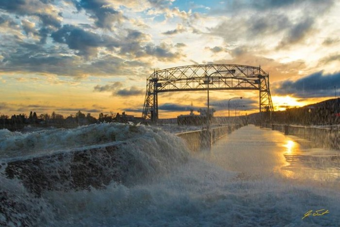 15. Jake Trost sacrificed dryness to get this stunning shot of The American Integrity leaving Duluth on a gusty fall day.