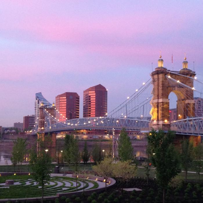5. Purple sunrise over downtown Cincinnati and the John A. Roebling Suspension Bridge