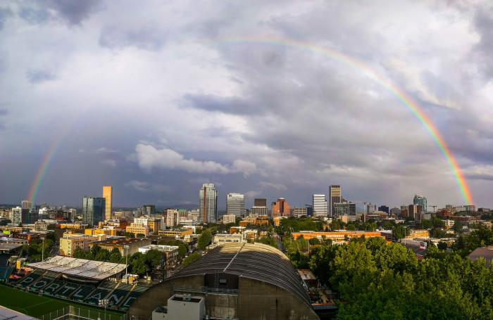 3) A perfect rainbow over Portland.