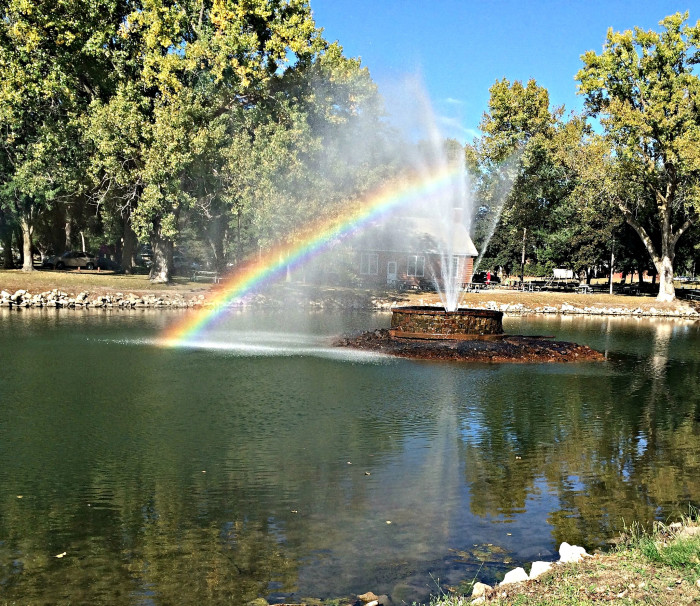 1. This rainbow didn't follow a storm; rather, it was created by the fountain in Ta-Ha-Zouka Park in Norfolk.