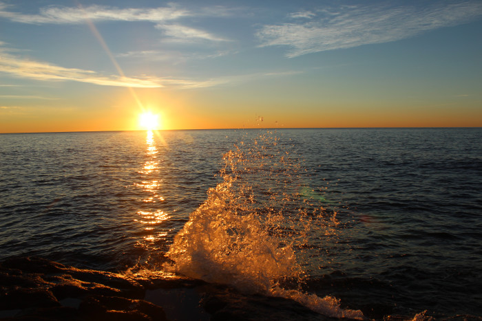 2. A sunrise over Lake Superior in Temperance River State Park.