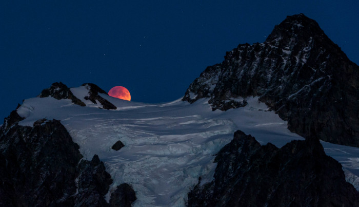 11. Blood moon rising over Mount Shuksan.
