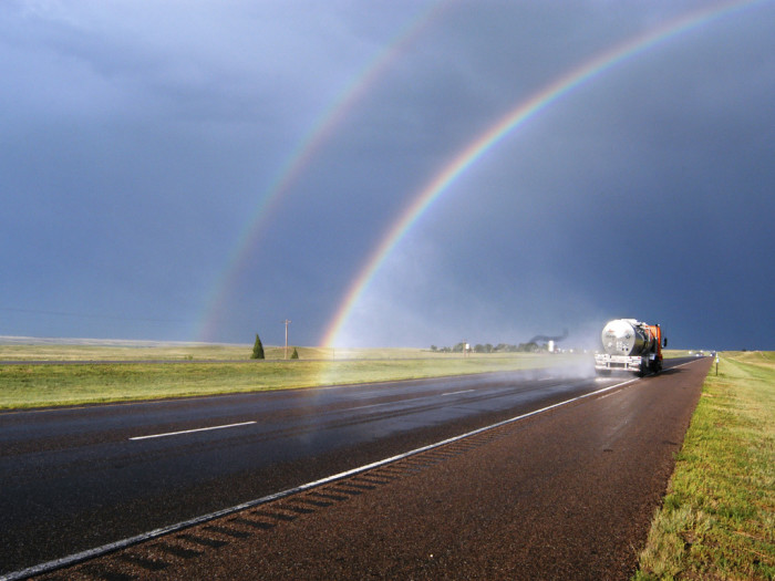 2. These colors are all so bright and vivid! Love this double rainbow covering I-80.