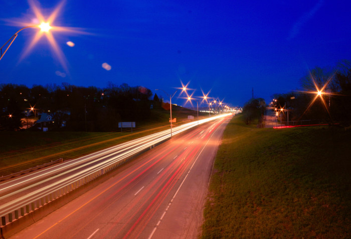 3. Traffic leaves behind trails of light on I-80 in Omaha.