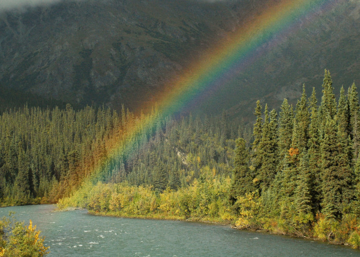 11) A rainbow diving into the angry waters of Sanctuary River.