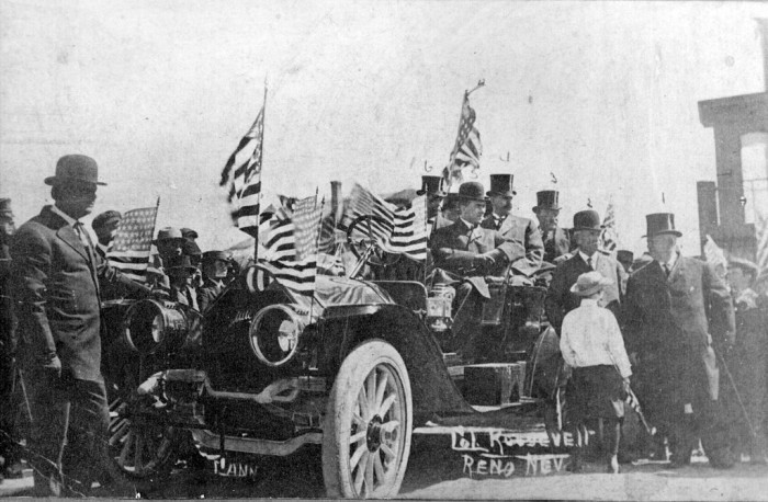 2. This historic photo, circa 1910 in Reno, features Colonel Roosevelt campaigning from an open touring car that's been decorated with American flags. Theodore Roosevelt is No. 3 in the photo.