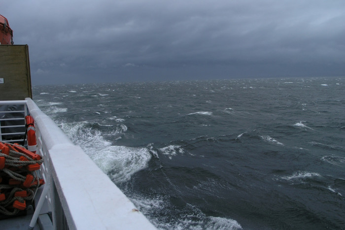 1) Rough seas. Imagine fishing in this weather.