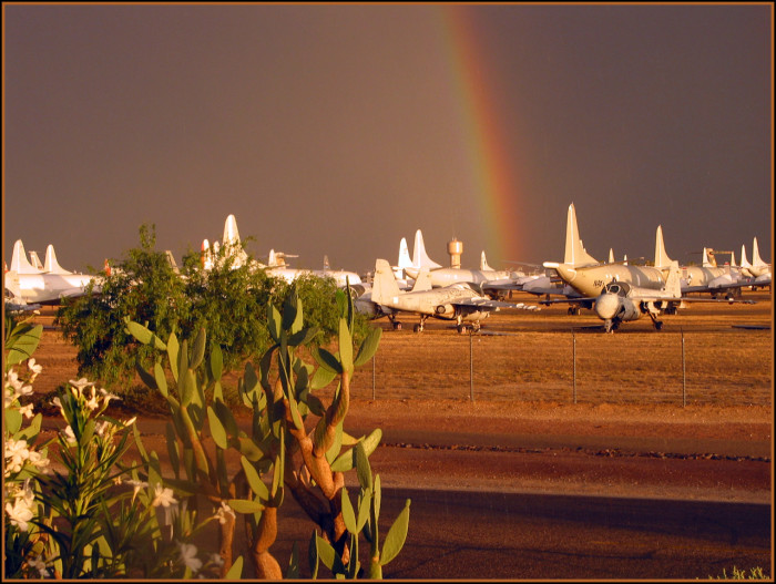 8. This rainbow stands out against the dark sky at Davis Monthan Air Force Base in Tucson.
