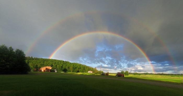 1) A double rainbow over a quaint Alaskan farm!