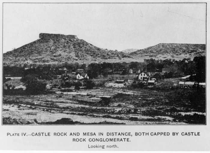 "13. ""Plate IV.--Castle Rock and mesa in the distance, both capped by Castle Rock Conglomerate."""