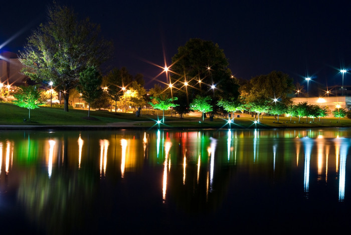 1. A gorgeous night view of Big Spring Park in Huntsville, Alabama.