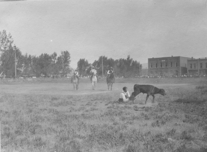 "15. ""Roping a calf in Meeker, Colo."""