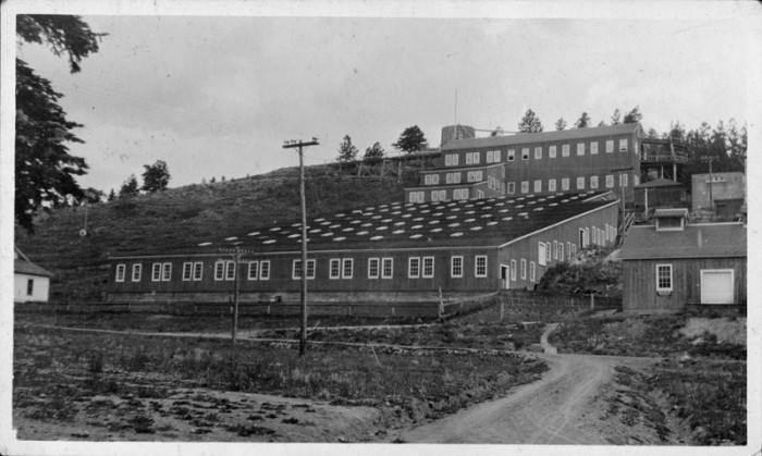 "16. ""Postcard of a multi-story industrial structure on the side of a hill near Nederland, CO."""