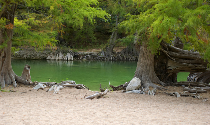 4) The Pedernales River usually sits pretty low, but nothing beats the clear blue-green waters cascading over the rocks at Pedernales Falls State Park!