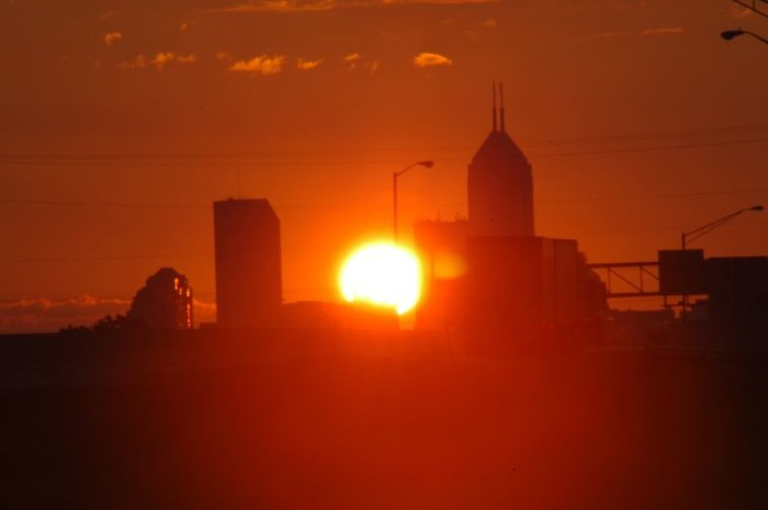 8.  Even the Indianapolis skyline looks spectacular when the sun is shinning a spotlight on it.