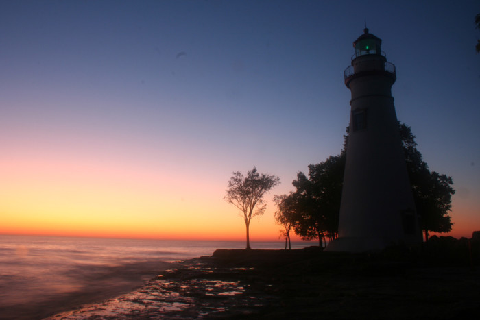 12. The sun rising over Marblehead Lighthouse in Marblehead, OH