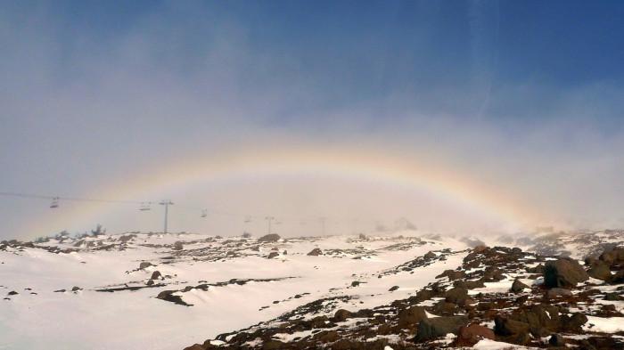 8) A rainbow in the mountain fog.