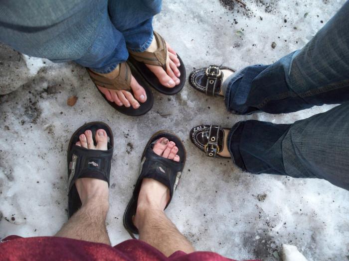 1. Snow = flip flop weather