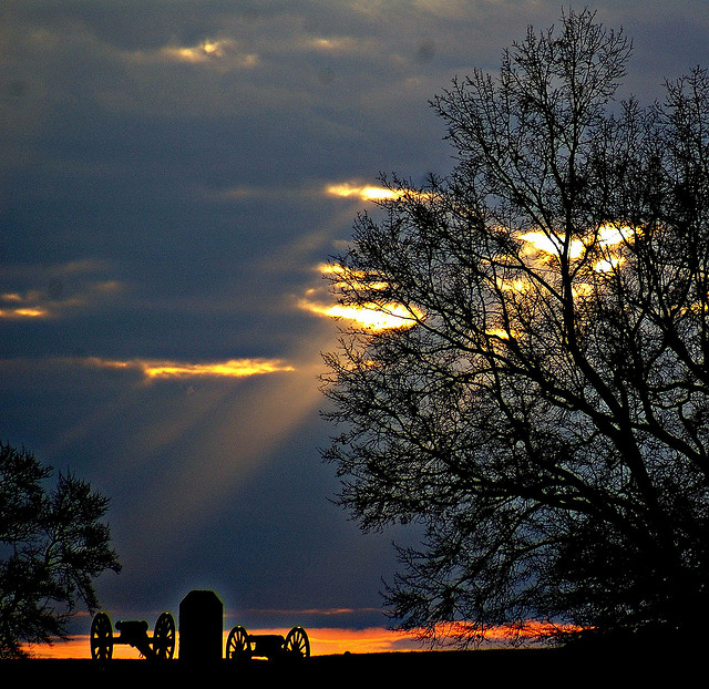 5. Heavenly beams of light fall upon the monuments at Gettysburg.