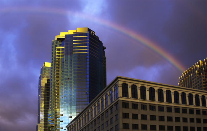 9. Even our urban centers offer gorgeous rainbows! This was shot near Exchange Place in Jersey City.